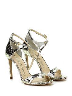 GIANCARLO PAOLI - Sandalo alto - Donna - Sandalo alto in pelle laminata effetto pitone con cinturino alla caviglia e suola in cuoio. Tacco 100. - PLATINO - € 238.00