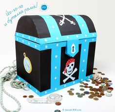 Make a cardboard pirate chest. Directions in another language but there are good pictures.