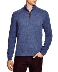 The Men's Store at Bloomingdale's Zip Mock Cashmere Sweater | Bloomingdale's