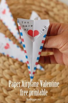DIY Valentines Day Cards - Paper Airplane Valentine's Card - Easy Handmade Cards for Him and Her, Kids, Freinds and Teens - Funny, Romantic, Printable Ideas for Making A Unique Homemade Valentine Card - Step by Step Tutorials and Instructions for Making Cute Valentine's Day Gifts http://diyjoy.com/diy-valentines-day-cards