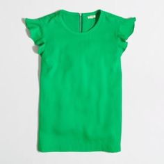 """J.Crew Factory flutter sleeve top Flutter sleeve top in green.  Silver zipper in back.  Top is approximately 18 1/2"""" in width and 24 1/2"""" in length.  Excellent used condition and just dry cleaned. J. Crew Tops Blouses"""