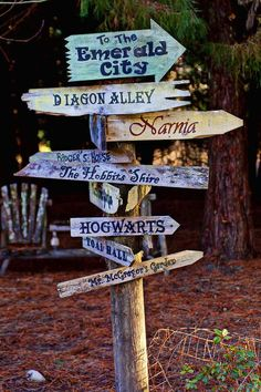 Directions to The Emerald City, Diagon Alley, Narnia, The Shire, Hogwarts and more. This way to fantasy. Plantation, Disney Girls, Disney Princess, Dream Garden, Yard Art, Narnia, Garden Projects, Garden Inspiration, Hogwarts