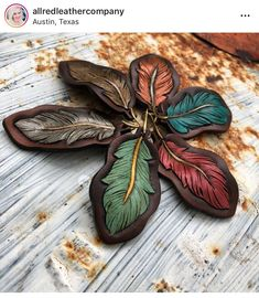 Leather Art, Tooled Leather, Leather Tooling, Essential Oil Jewelry, Essential Oils, Leather Earrings, Leather Jewelry, Feather Drawing, Leather Projects