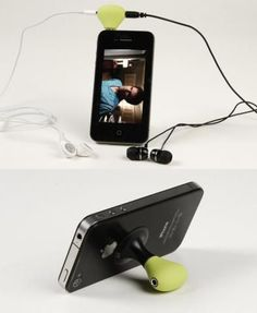 iPhone stand and earphone splitter in one. $10.99 #thatseasier