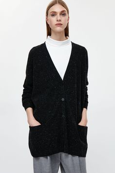 COS image 2 of Oversized wool cardigan in Charcoal Grey Wool Cardigan, Strong Women, Knitwear, Charcoal, Tunic Tops, Cos, Grey, Clothes, Image