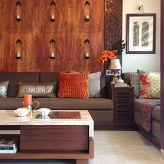 A creative mix of sophisticated contemporary and traditional Indian design elements transform the Desai's Mumbai home into a visual payoff. Home Design Living Room, Apartment Interior, Living Area Design, Interior Decorating, Home, Interior Architecture Design, Sofa Design, Home Decor, Living Room Designs