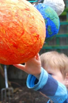 "Welcome back to Red Ted Art and this week's Kids Crafts – our very own paper mache Solar System – ok, so it is ""only"" the sun, the earth and the moon, but it is a start and something to add to over time. Preschool Science, Science For Kids, Science Activities, Science Projects, Activities For Kids, Space Activities, Science Crafts, Preschool Crafts, Space Projects"