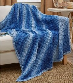 This Ombre Ocean Corner to Corner Afghan is one of the coolest crochet projects you'll see today!
