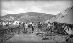 Gallipoli: Through the Soldier's Lens | The Public Domain Review -- The 1st Australian Field Bakery established on 'K' Beach, Imbros