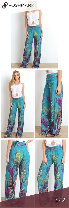 Arrives 4/21 ⚜️ Wide Leg Printed Pants ⚜️ Border print, full length pants in a relaxed style with a banded high waist and wide legs.  Fabric Content: 96% Polyester 4% Spandex Gilli Pants Wide Leg
