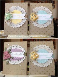 romantic cards Distressed Dots background stamp paper doily: I like the paper doily idea!You will love this cute paper doily flowers diy and they are so easy to recreate and look great. Pretty Cards, Cute Cards, Diy Cards, Flower Cards, Paper Flowers, Ribbon Flower, Cut Flowers, Paper Doilies, Paper Doily Crafts