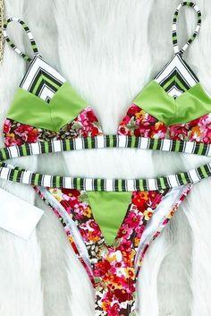 b31f66d9b Sexy Lovely Stripes Stitching Bikini Swimsuit