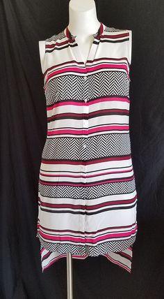 f8d8ddf6748 Worthington Womens Tunic Dress M Long Sleeveless Sheer Chevron Stripes  Hi-Low  Worthington stores