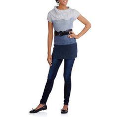 No Boundaries Juniors' Cowl Neck Belted Ombre Sweater Dress, Size: XL, Blue