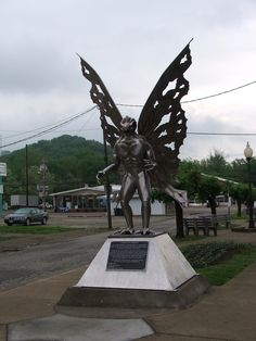 Mothman Statue Point Pleasant, West Virginia   Mothman arrived in Point Pleasant in November 1966 in classic style, scaring couples in parked cars. His most memorable features were his ten-foot batlike wings and his huge, red, glowing eyes.  Some say he is a harbinger of disaster, others the product of a Native American Curse, while still others think he comes from another dimension.  For more on Mothman, see Chapter 33 of Dixie Spirits: http://www.sourcebooks.com/store/dixie-spirits.html