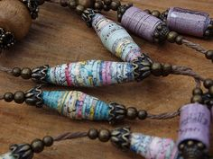 Paper and Wood Bead Necklace with Brass Accents No by JoHaDesigns, $30.00