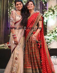 www.sameepam.com prithviraj wife in red designer bridal lehenga