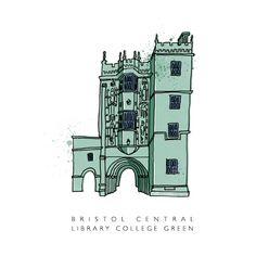 Bristol Central Library, College Green by Bristol based illustrator Tim Sutcliffe. £55 framed.