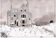 Becca Stadtlander, illustration house - winter