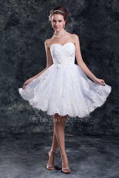 US $216.00 | Organza schatz knielangen mantel bestickte kurze hochzeitskleid