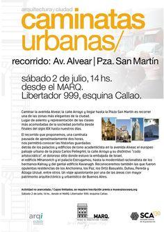 SCA | CAMINATAS URBANAS  La Sociedad Central de Arquitectos invita a la caminata urbana que permitirá conocer una de las zonas más elegantes de la ciudad: Av. Alvear - Plaza San Martín.  Sábado 2 de julio a partir de las 14 hs.  Más info: http://ly.cpau.org/295RNa7  #AgendaCPAU #RecomendadoARQ