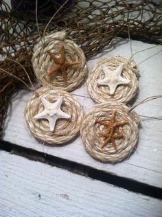 Starfish & Rope Coastal Decor Window or Tree Ornament by SandyPups