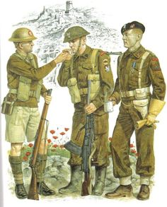 """Free Polish Forces, World War II Rifleman, Independent Carpathian Rifle Brigade; Tobruk, Libya """" Indistinguishable from their British comrades apart from Polish ranking, the men of this brigade wore British issue KD tropical clothing and khaki. British Army Uniform, British Uniforms, Ww2 Uniforms, British Soldier, Military Uniforms, Uniform Insignia, Military Insignia, Military Art, Military History"""