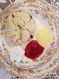 Cranberry scone with Clotted cream, strawberry jam and fresh lemon curd. Cranberry Scones, Farm Cottage, Clotted Cream, Strawberry Jam, Lemon Curd, Ice Cream, Fresh, Tea, Baking
