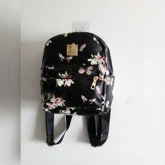 3dd1806d06e5 FLORAL MINI BACKPACK • Black floral mini backpack w/main - Depop Mini  Backpack,
