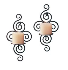 <b>Features</b><ul><li>Wrought iron candle wall sconces featuring swirl design.</li><li>Candles not included.</li><li>Candle sconces 7 x 5 x 13 in. Wrought Iron Candle Holders, Pillar Candle Holders, Pillar Candles, Candlestick Holders, Candle Lanterns, Modern Wall Sconces, Candle Wall Sconces, Wall Sconce Lighting, Best Candles