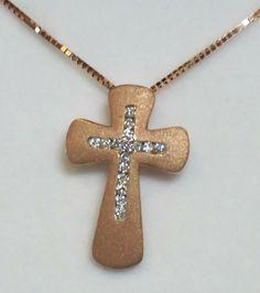rose gold diamond cross   at Countryman's Village Jewelers