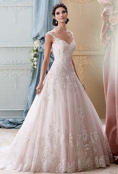 Brides: David Tutera for Mon Cheri. Tulle, organza and hand-beaded embroidered lace ball gown. Double lace shoulder straps, sweetheart neckline, dropped waist and chapel length train.