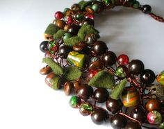 Brown Green Forest Copper Crochet Unique Necklace from minimalMODE