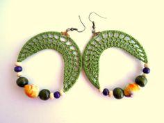 Crochet Earrings Eco Friendly Jewelry Purple by Myhandmadepassion, $23.90
