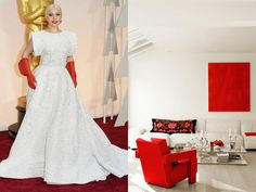 Lady Gaga arrived on the red carpet wearing sculptural white with striking scarlet accents, evoking the stark, stunning feel of a hyper-modern interior. Oscar Gowns, Entertainment Room, Lady Gaga, Modern Interior, Scarlet, Red Carpet, Rooms, Wedding Dresses, Music