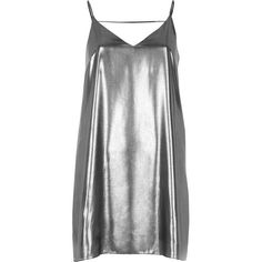 River Island Silver strap back cami dress (165 SEK) ❤ liked on Polyvore featuring dresses, short dresses, grey, strappy dress, metallic mini dress, cami dress, strap dress and strappy cami