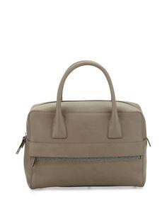 Monili-Trim Leather Zip Satchel Bag, Taupe by Brunello Cucinelli at Neiman Marcus.