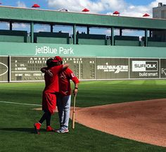 Mike and Tate Matheny share a father and son moment before the Cards-Red Sox spring training game (2-27-17).