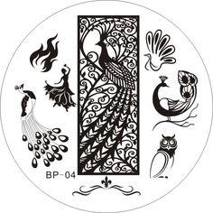 $2.99 Dancing Peacoak Theme Nail Art Stamp Template Image Plate BORN PRETTY 04 - BornPrettyStore.com
