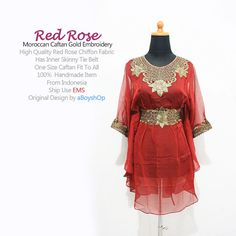 Moroccan RED Chiffon Blouse Short Caftan Dress Unique by aboyshop, $33.99