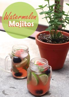 Blackberry Watermelon Mojitos