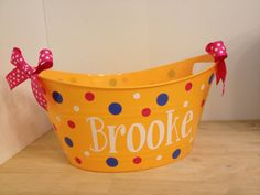 Personalized oval tub - Easter basket, gift basket, name, initial or monogram, polka dots or custom design, baby gift basket on Etsy, $12.00