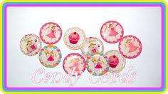 Pink Princess Epoxy Domes Dots 25mm Round 1 Inch Birthday Treat Pretty Apoxy