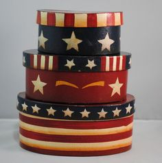 Americana Oval Nesting Boxes Set of 3 Red Blue Star Stripes Patriotic Decorative #AmericanaPrimitive
