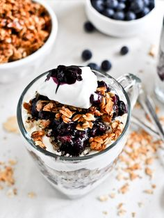 Breakfast inspiration: roasted blueberry coconut quinoa parfaits with coconut granola.