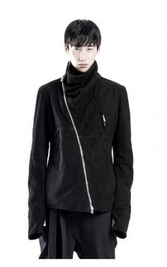HIGH NECK SUEDE LEATHER JACKET
