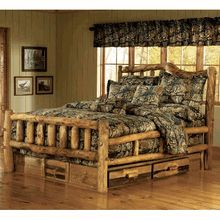 """Our very popular Aspen """"Snowload"""" log bed with underdresser."""