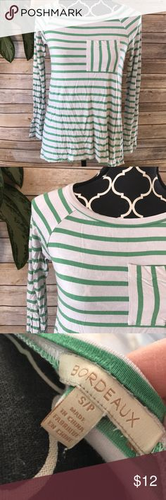 Anthropologie • Bordeaux green striped top Gray and green striped long sleeve tee. Good pre-owned condition. Tops Tees - Long Sleeve