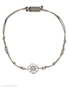 """Wearing this Sterling Silver, Cubic Zirconia and Cord Bracelet will make you feel fresh as a daisy. Fits up to an 8"""" wrist with an adjustable sliding Clasp."""