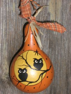 Owl Dried Gourd Ornament by TheRootCellar on Etsy